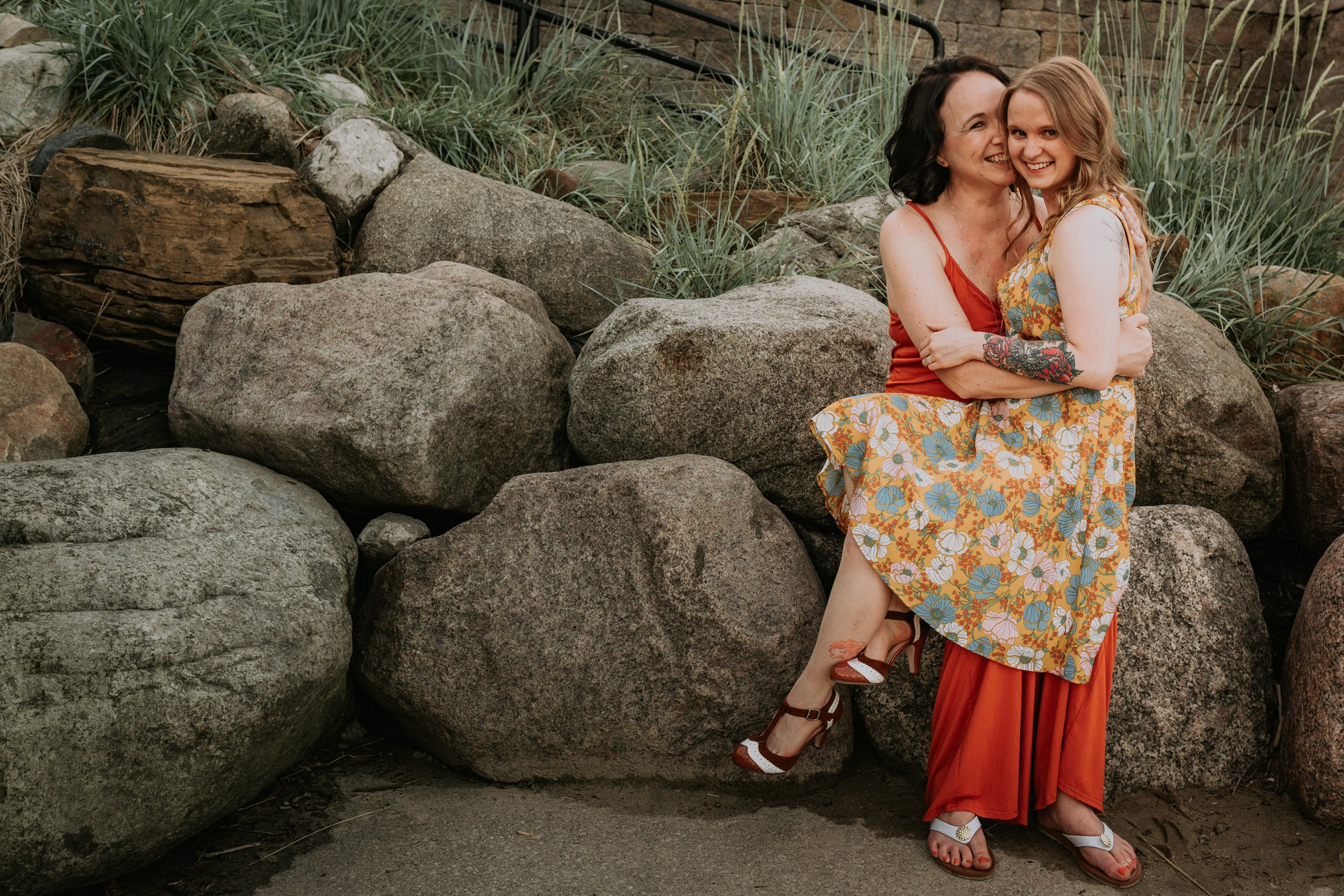 Kathryn & Heather Engagement Session in Downtown Rockford MI